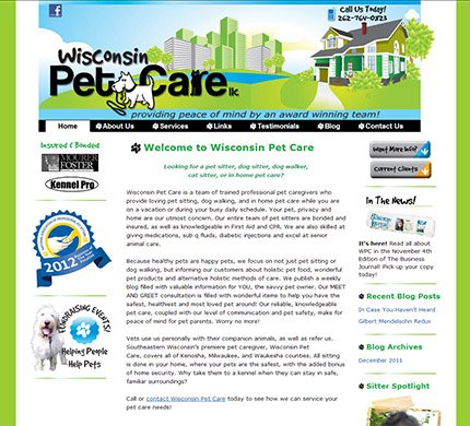 Wisconsin Pet Care WordPress Website Development